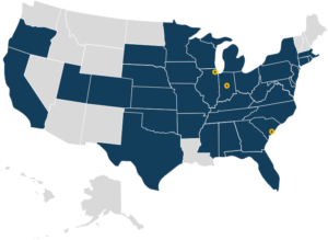 map of lender service customers